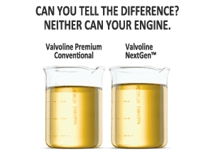 NextGen oil compared to conventional Valvoline oil