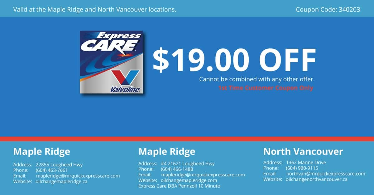 Oil Change Coupons - Express Oil Change Maple Ridge Coupon $19.00 off